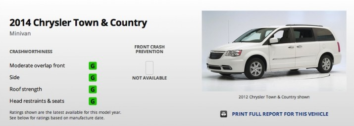 chrysler town & country safety
